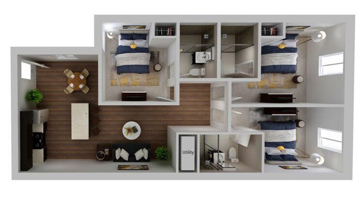 HH Eleanor apartment standard floor plan, 3 bedroom and 3 bathroom