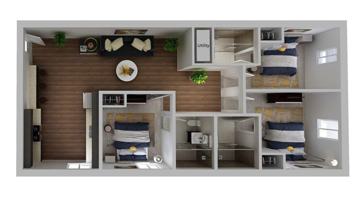 HH Eleanor apartment original floor plan, 3 bedroom and 3 bathroom