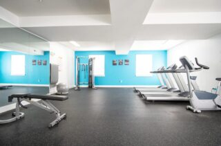 Spacious gym with all equipment for a workout
