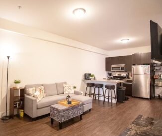 HH Eleanor apartmen's view of living room and kitchen with all appliances, furniture and TV