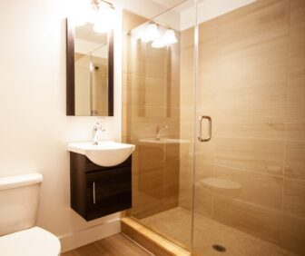 Apartment's bathroom and shower with glass doors