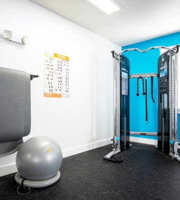 Gym's exercise ball, mat and exercise machine