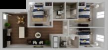 HH Elenaor apartment standard floor plan, 3 bedroom and 3 bathroom