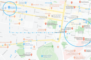 Google map showing the close proximity of HH Eleanor and Univerity of Pennsylvania